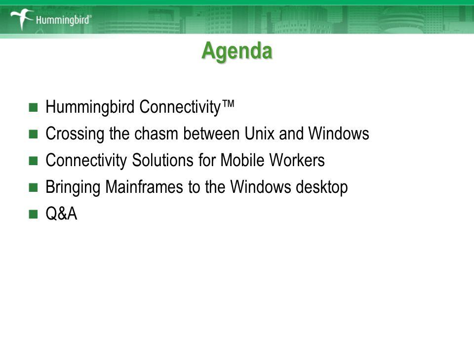 Hummingbird Connectivity™ Name Function   Agenda Hummingbird