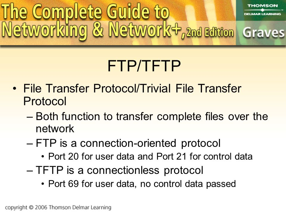 FTP/TFTP File Transfer Protocol/Trivial File Transfer Protocol –Both function to transfer complete files over the network –FTP is a connection-oriented protocol Port 20 for user data and Port 21 for control data –TFTP is a connectionless protocol Port 69 for user data, no control data passed