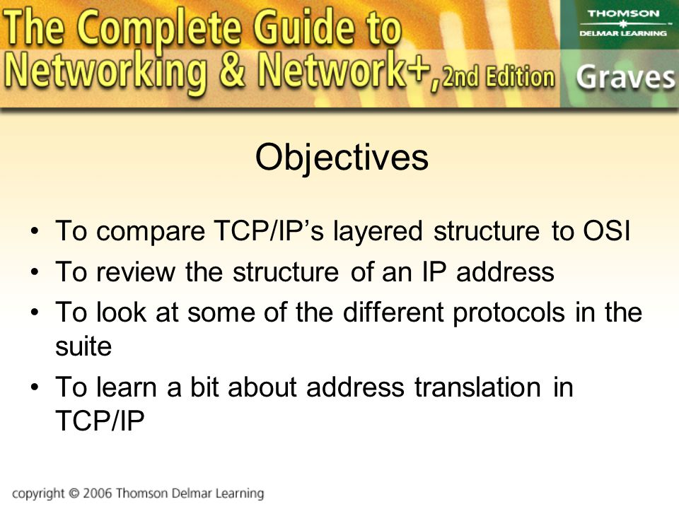 Objectives To compare TCP/IP's layered structure to OSI To review the structure of an IP address To look at some of the different protocols in the suite To learn a bit about address translation in TCP/IP