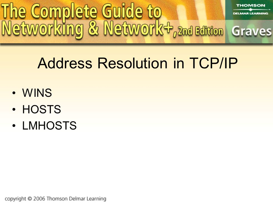 Address Resolution in TCP/IP WINS HOSTS LMHOSTS