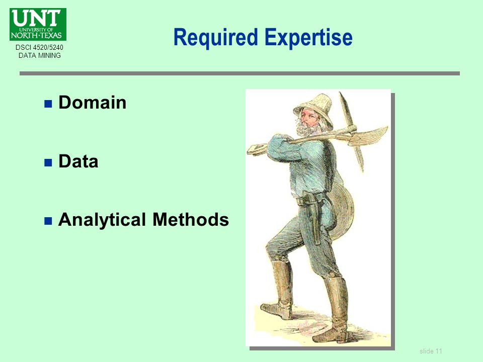 slide 11 DSCI 4520/5240 DATA MINING Required Expertise n Domain n Data n Analytical Methods
