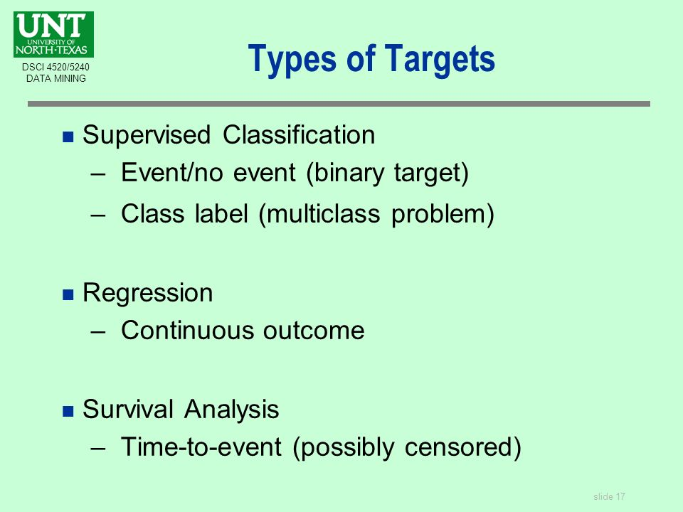 slide 17 DSCI 4520/5240 DATA MINING Types of Targets n Supervised Classification –Event/no event (binary target) –Class label (multiclass problem) n Regression –Continuous outcome n Survival Analysis –Time-to-event (possibly censored)