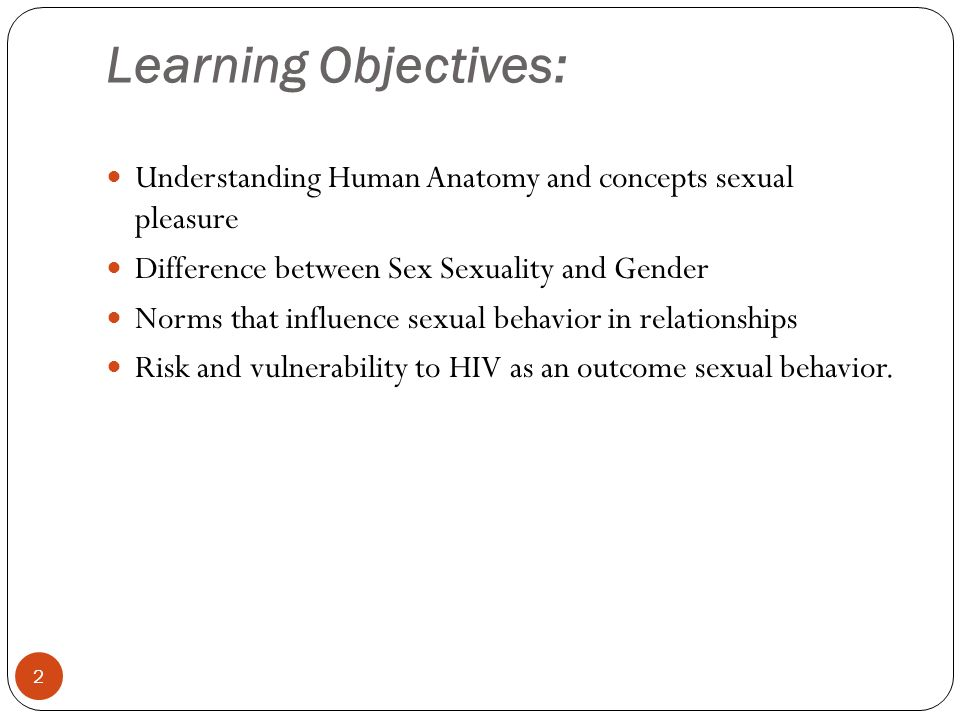 1 Session -4 Sex, Sexuality and Gender. Learning Objectives ...