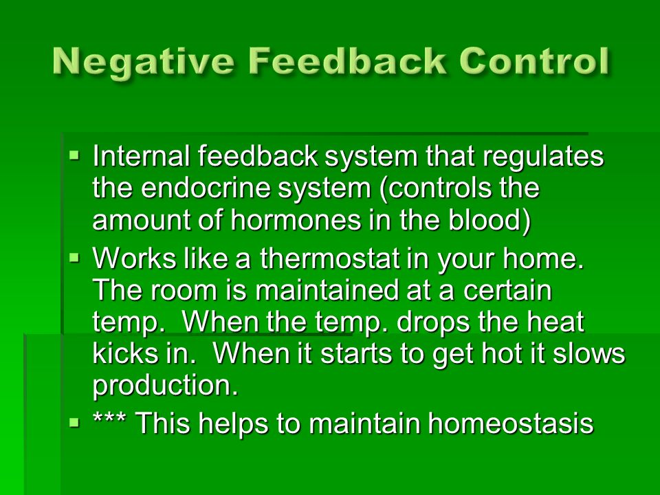  Internal feedback system that regulates the endocrine system (controls the amount of hormones in the blood)  Works like a thermostat in your home.