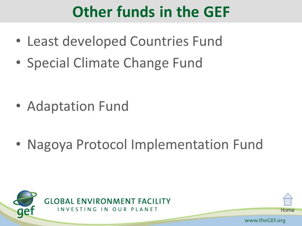 Home Least developed Countries Fund Special Climate Change Fund Adaptation Fund Nagoya Protocol Implementation Fund Other funds in the GEF