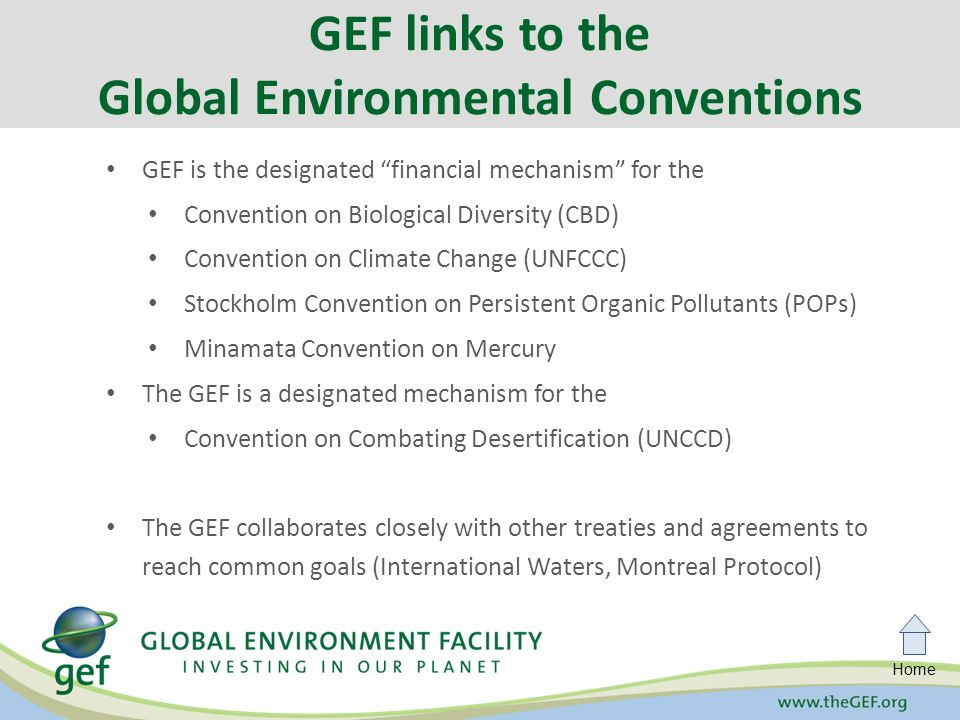 Home GEF is the designated financial mechanism for the Convention on Biological Diversity (CBD) Convention on Climate Change (UNFCCC) Stockholm Convention on Persistent Organic Pollutants (POPs) Minamata Convention on Mercury The GEF is a designated mechanism for the Convention on Combating Desertification (UNCCD) The GEF collaborates closely with other treaties and agreements to reach common goals (International Waters, Montreal Protocol) GEF links to the Global Environmental Conventions