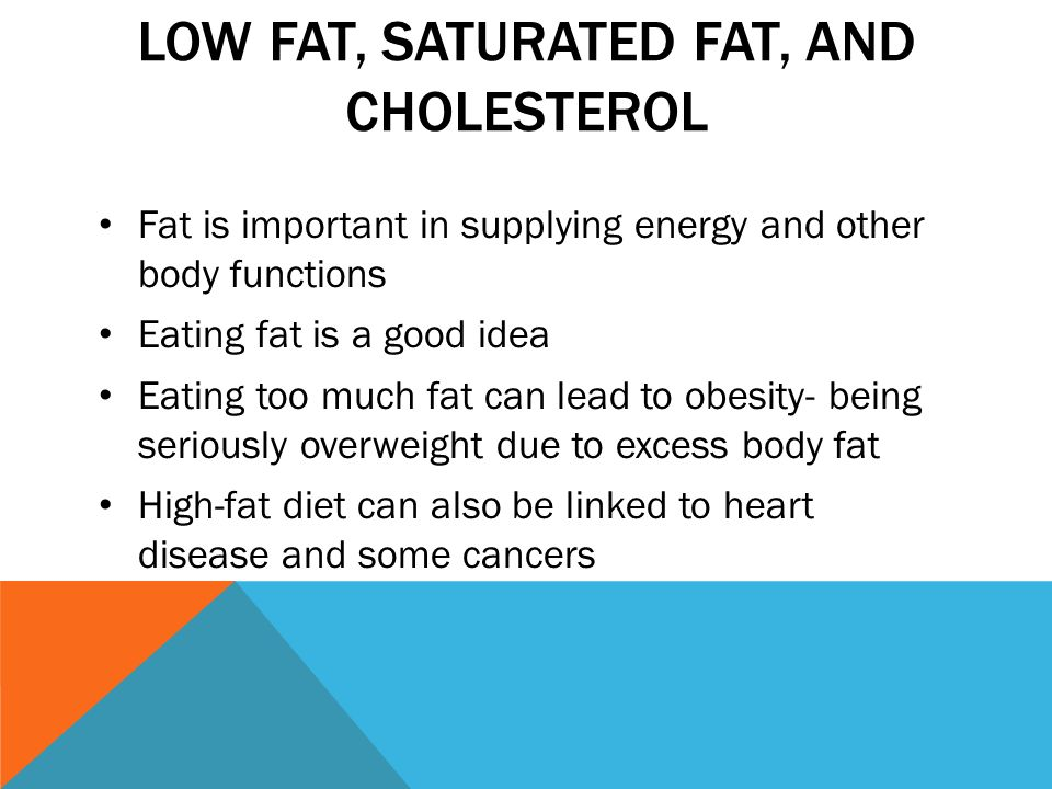 LOW FAT, SATURATED FAT, AND CHOLESTEROL Fat is important in supplying energy and other body functions Eating fat is a good idea Eating too much fat can lead to obesity- being seriously overweight due to excess body fat High-fat diet can also be linked to heart disease and some cancers