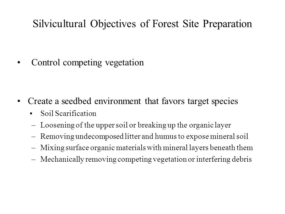 Forest Site Preparation Definition: Purposeful treatment of