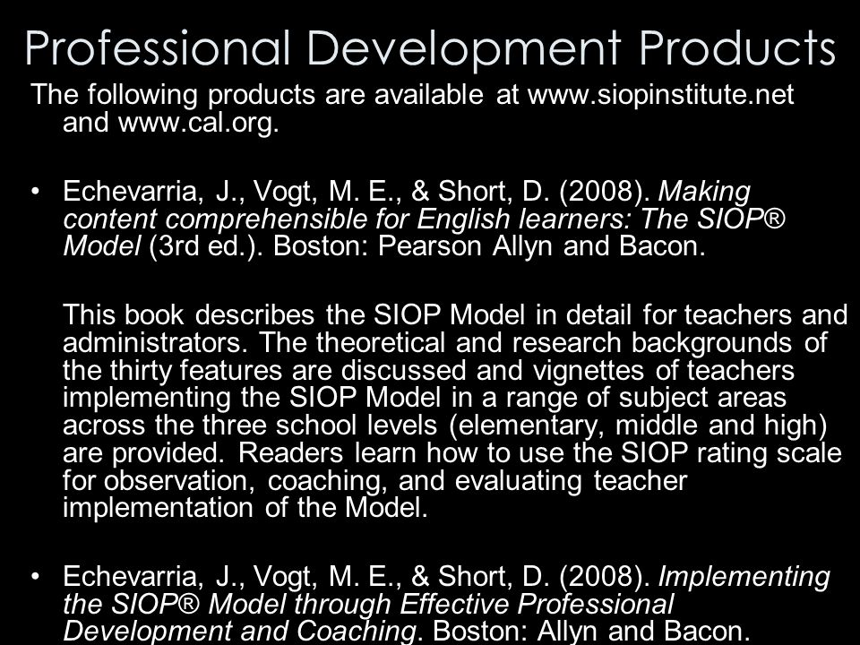 making content comprehensible for english learners the siop model The sheltered instruction observation protocol (siop) was developed to make content material comprehensible to english language learners this model is the result of the work of jana echevarria, maryellen vogt and deborah j short the siop model includes teacher preparation, instructional.
