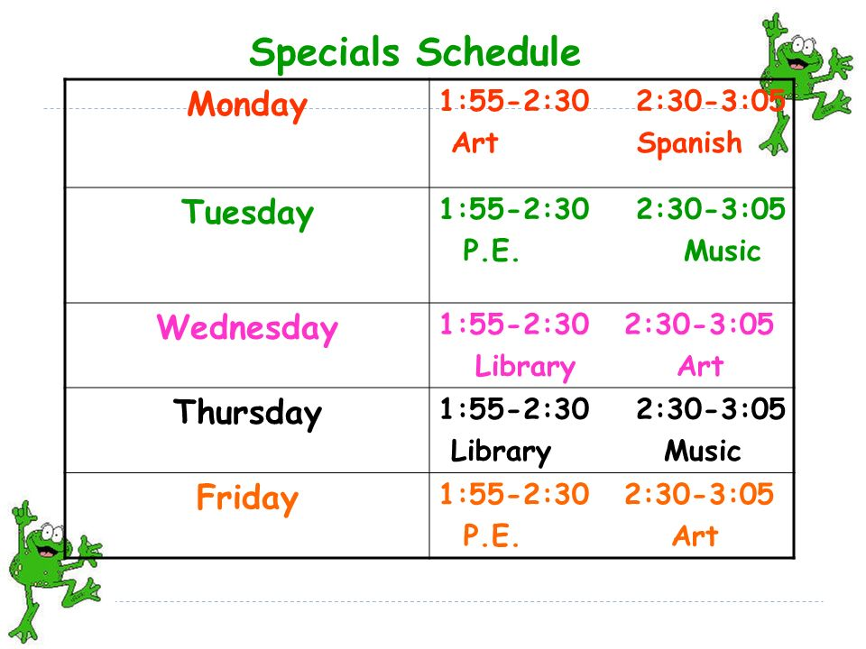 Specials Schedule Monday 1:55-2:30 2:30-3:05 Art Spanish Tuesday 1:55-2:30 2:30-3:05 P.E.