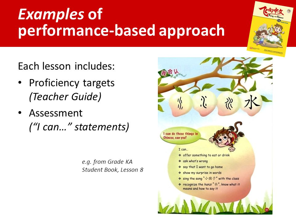Examples of performance-based approach Each lesson includes: Proficiency targets (Teacher Guide) Assessment ( I can… statements) e.g.