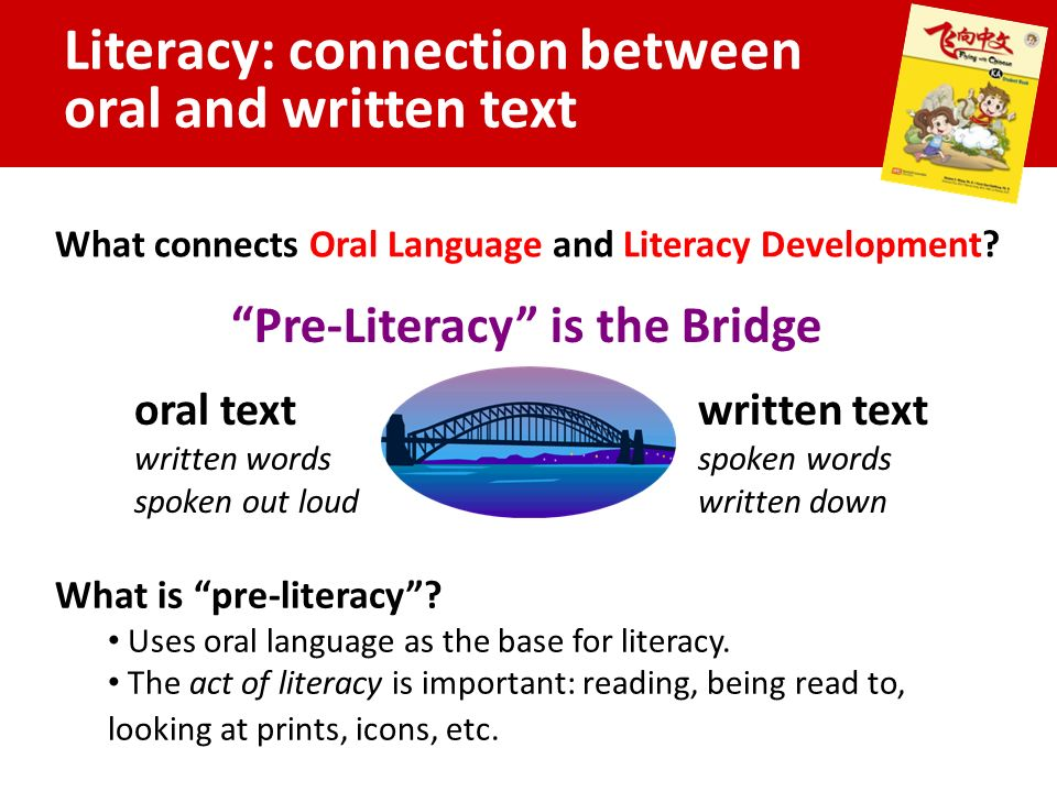 Literacy: connection between oral and written text What connects Oral Language and Literacy Development.