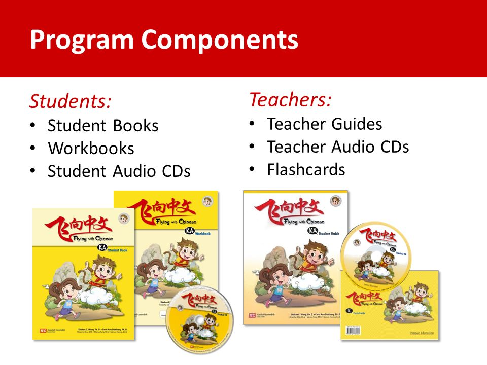 Program Components Students: Student Books Workbooks Student Audio CDs Teachers: Teacher Guides Teacher Audio CDs Flashcards