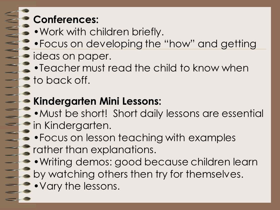 Kindergarten Writing Workshops: solid structure grounded in