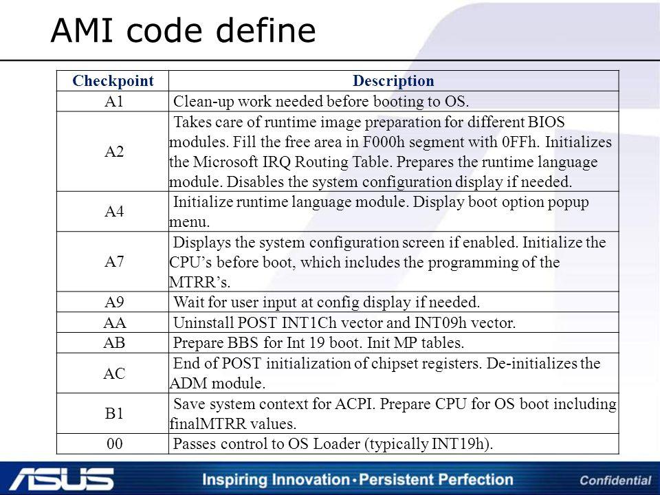 Asus A9 Error Code