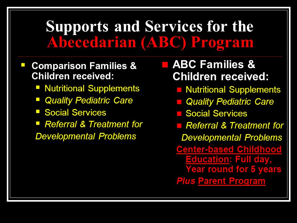 Supports and Services for the Abecedarian (ABC) Program  Comparison Families & Children received:  Nutritional Supplements  Quality Pediatric Care  Social Services  Referral & Treatment for Developmental Problems ABC Families & Children received: Nutritional Supplements Quality Pediatric Care Social Services Referral & Treatment for Developmental Problems Center-based Childhood Education: Full day, Year round for 5 years Plus Parent Program