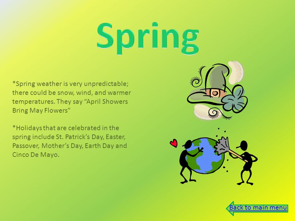 *The first day of Spring is called the Vernal Equinox.