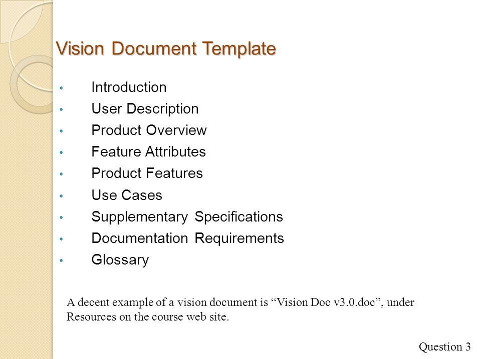 7 Vision Document Template Introduction User Description