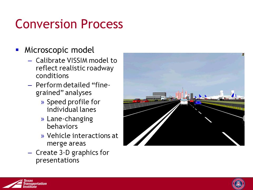 Transportation Operations Group Conversion Process  Microscopic model – Calibrate VISSIM model to reflect realistic roadway conditions – Perform detailed fine- grained analyses » Speed profile for individual lanes » Lane-changing behaviors » Vehicle interactions at merge areas – Create 3-D graphics for presentations