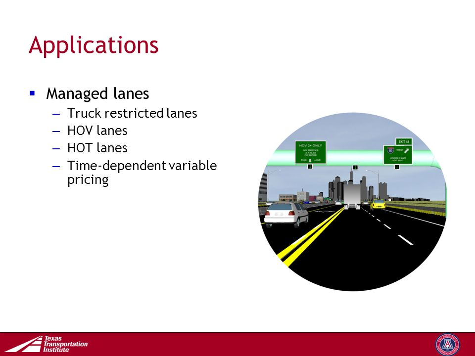Transportation Operations Group Applications  Managed lanes – Truck restricted lanes – HOV lanes – HOT lanes – Time-dependent variable pricing
