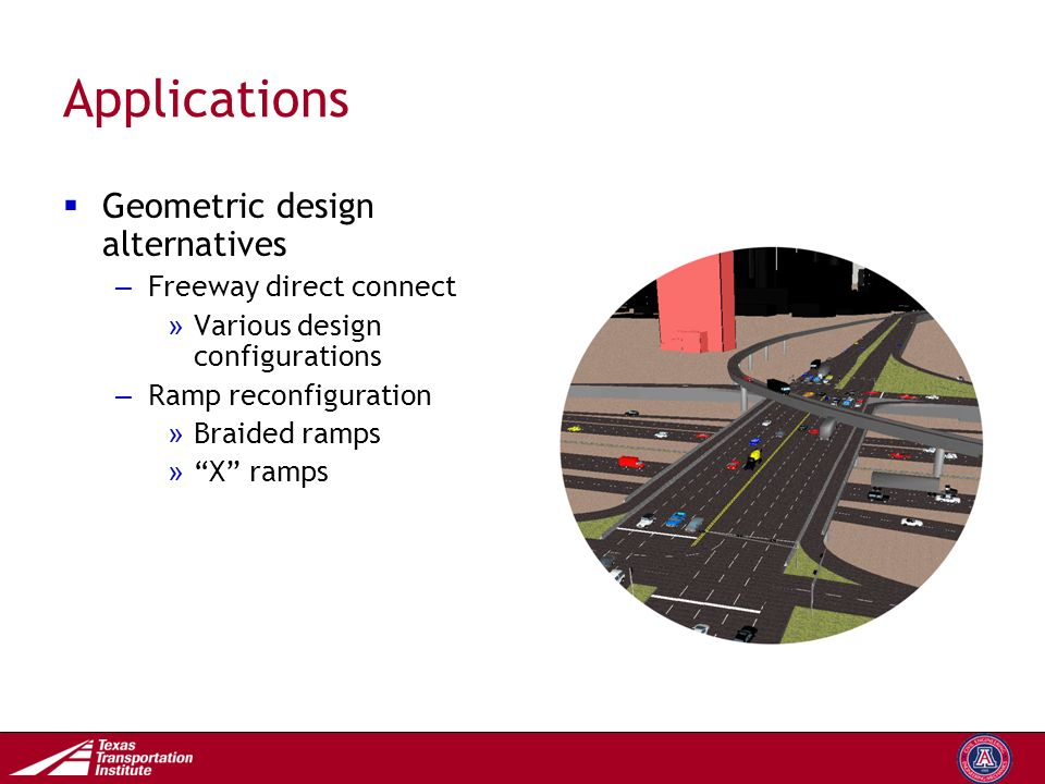Transportation Operations Group Applications  Geometric design alternatives – Freeway direct connect » Various design configurations – Ramp reconfiguration » Braided ramps » X ramps