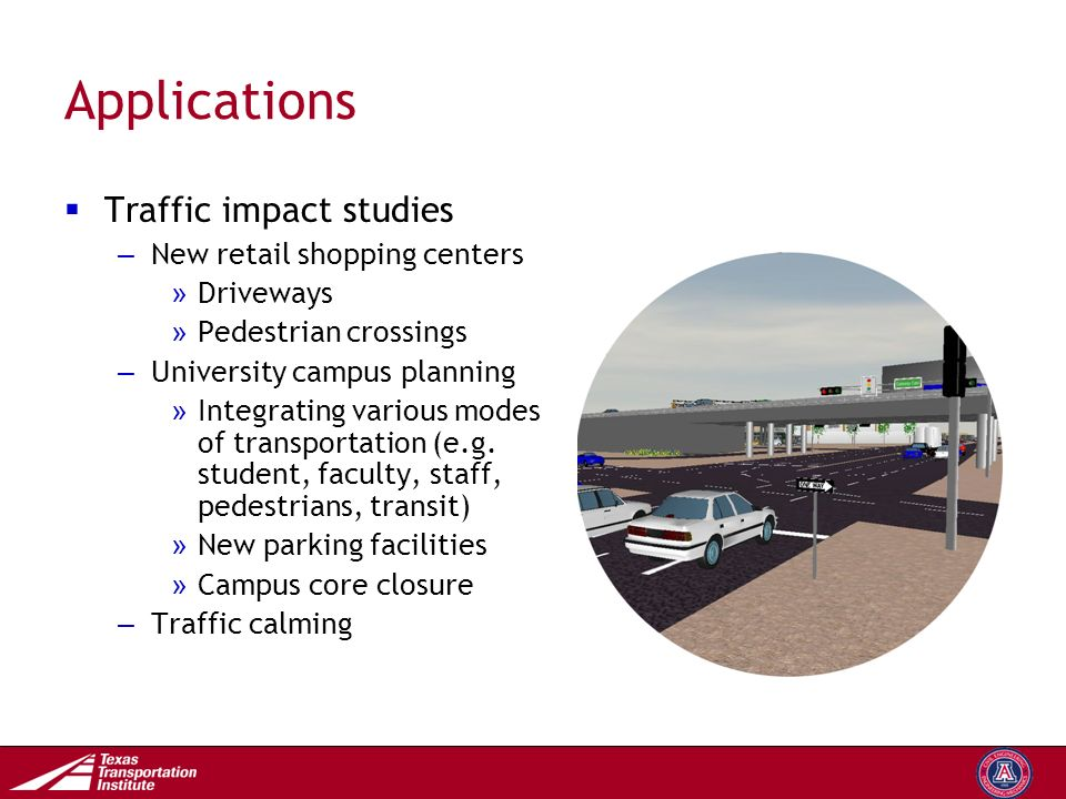 Transportation Operations Group Applications  Traffic impact studies – New retail shopping centers » Driveways » Pedestrian crossings – University campus planning » Integrating various modes of transportation (e.g.