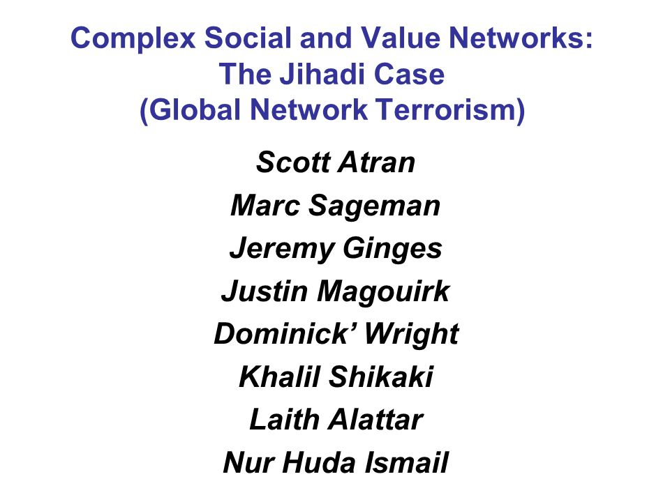 complex social and value networks the jihadi case global network