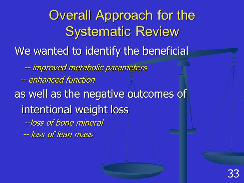 Overall Approach for the Systematic Review We wanted to identify the beneficial -- improved metabolic parameters -- enhanced function -- enhanced function as well as the negative outcomes of intentional weight loss intentional weight loss --loss of bone mineral -- loss of lean mass -- loss of lean mass 33