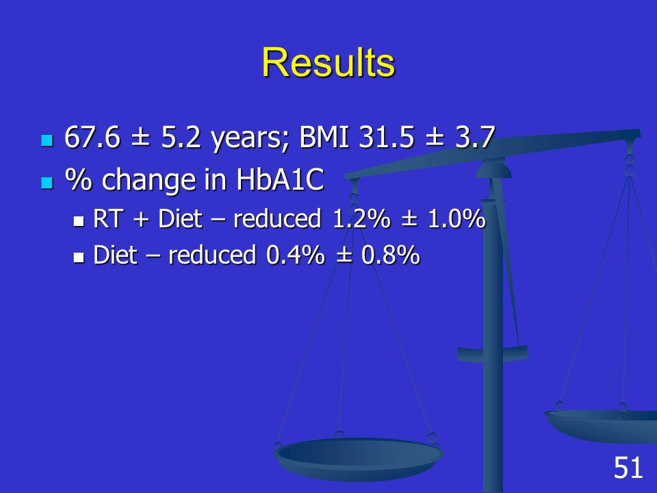 Results 67.6 ± 5.2 years; BMI 31.5 ± 3.7 67.6 ± 5.2 years; BMI 31.5 ± 3.7 % change in HbA1C % change in HbA1C RT + Diet – reduced 1.2% ± 1.0% RT + Diet – reduced 1.2% ± 1.0% Diet – reduced 0.4% ± 0.8% Diet – reduced 0.4% ± 0.8% 51