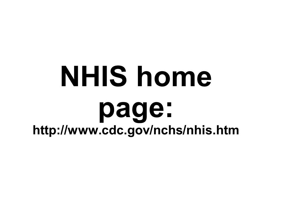 NHIS home page: