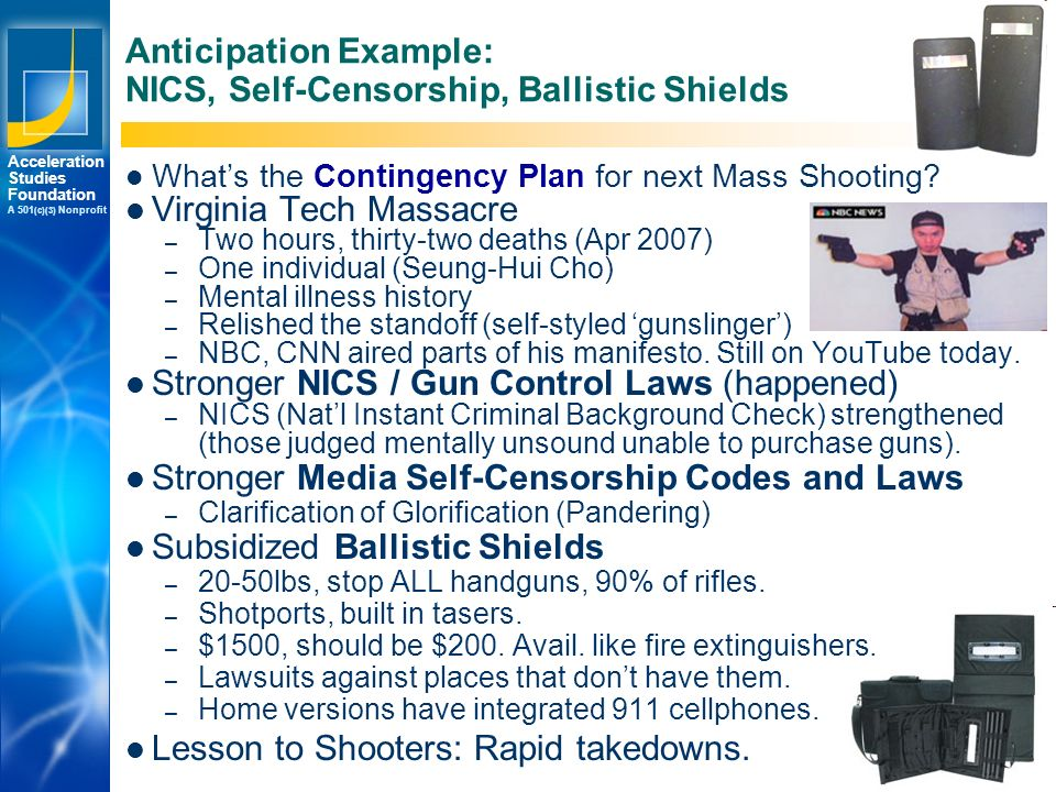 Los Angeles New York Palo Alto Acceleration Studies Foundation A 501 (c)(3) Nonprofit © 2008 Accelerating.org Anticipation Example: NICS, Self-Censorship, Ballistic Shields What's the Contingency Plan for next Mass Shooting.