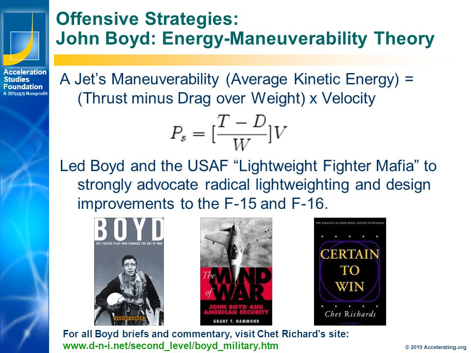 Los Angeles New York Palo Alto Acceleration Studies Foundation A 501 (c)(3) Nonprofit Offensive Strategies: John Boyd: Energy-Maneuverability Theory A Jet's Maneuverability (Average Kinetic Energy) = (Thrust minus Drag over Weight) x Velocity Led Boyd and the USAF Lightweight Fighter Mafia to strongly advocate radical lightweighting and design improvements to the F-15 and F-16.