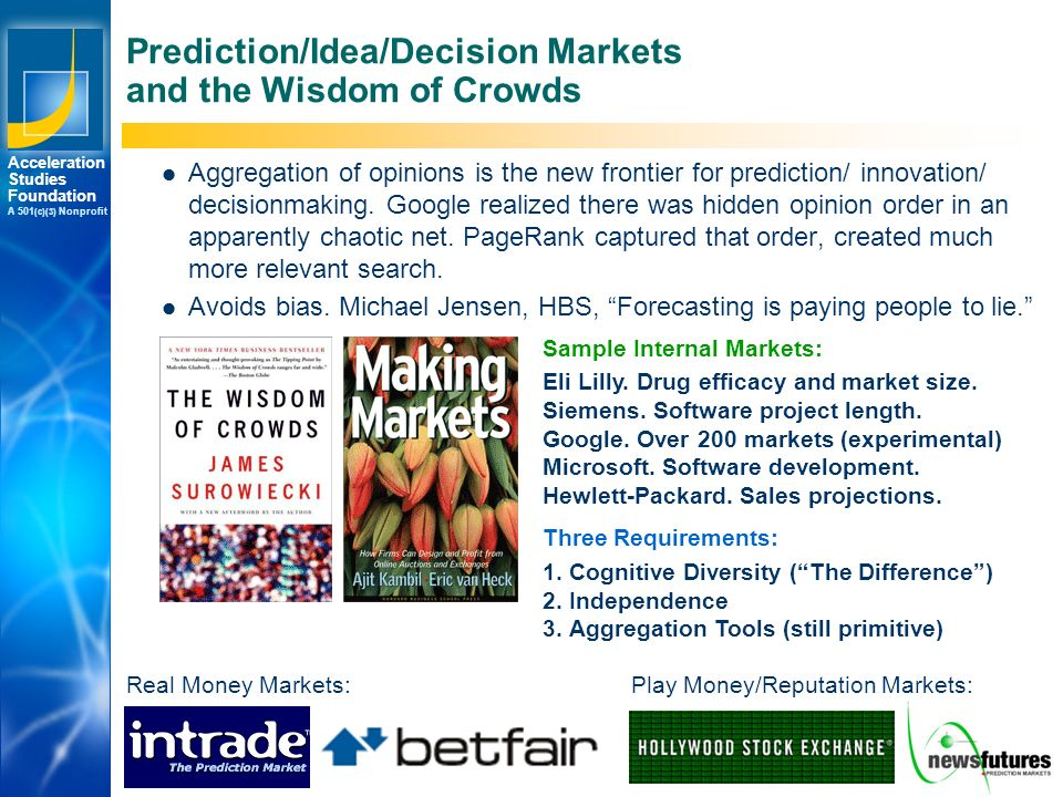 Los Angeles New York Palo Alto Acceleration Studies Foundation A 501 (c)(3) Nonprofit © 2007 Accelerating.org Prediction/Idea/Decision Markets and the Wisdom of Crowds Aggregation of opinions is the new frontier for prediction/ innovation/ decisionmaking.