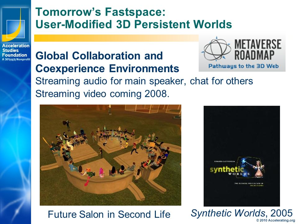 Los Angeles New York Palo Alto Acceleration Studies Foundation A 501 (c)(3) Nonprofit Tomorrow's Fastspace: User-Modified 3D Persistent Worlds Global Collaboration and Coexperience Environments Streaming audio for main speaker, chat for others Streaming video coming 2008.