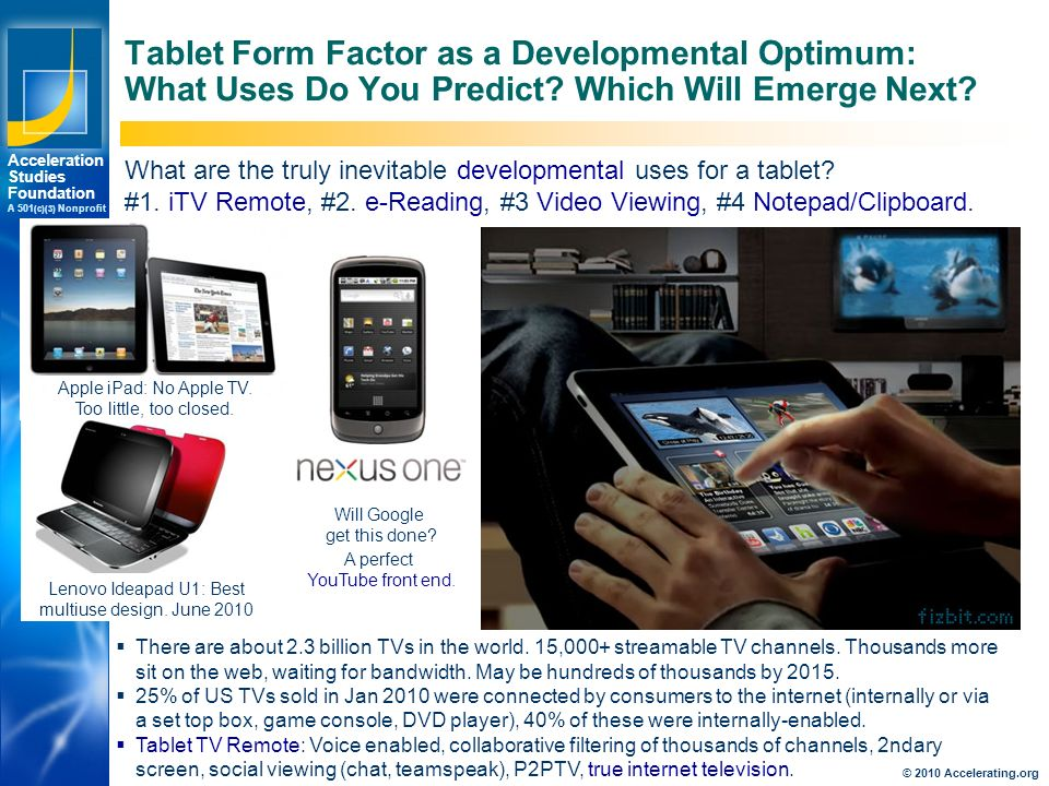Los Angeles New York Palo Alto Acceleration Studies Foundation A 501 (c)(3) Nonprofit Tablet Form Factor as a Developmental Optimum: What Uses Do You Predict.