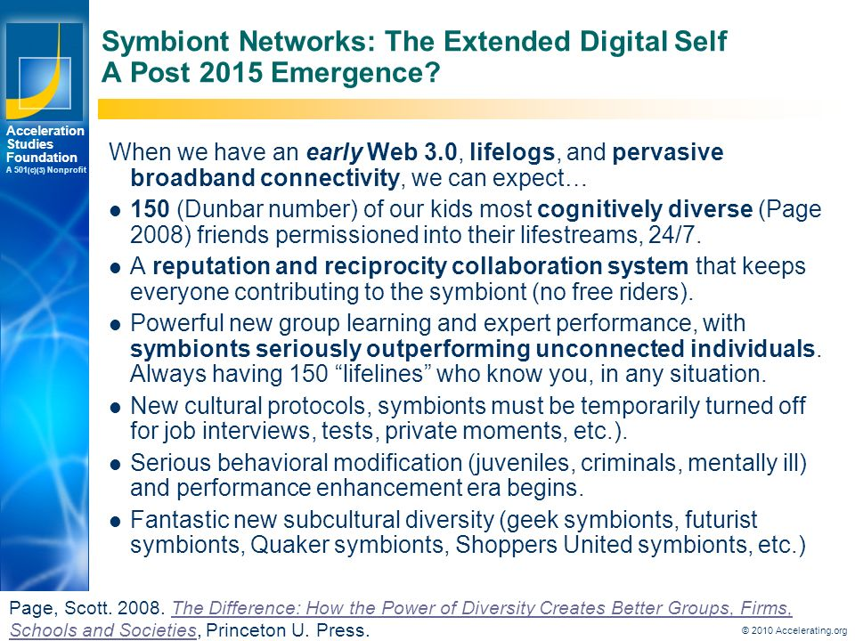 Los Angeles New York Palo Alto Acceleration Studies Foundation A 501 (c)(3) Nonprofit Symbiont Networks: The Extended Digital Self A Post 2015 Emergence.