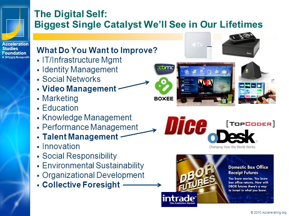 Los Angeles New York Palo Alto Acceleration Studies Foundation A 501 (c)(3) Nonprofit The Digital Self: Biggest Single Catalyst We'll See in Our Lifetimes What Do You Want to Improve.