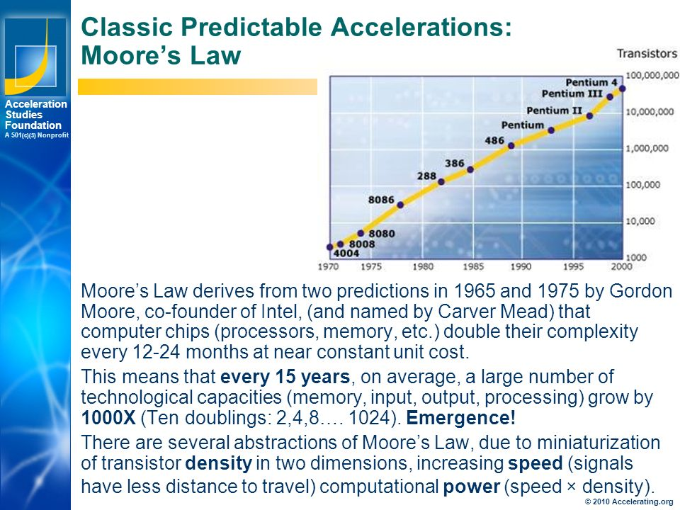 Los Angeles New York Palo Alto Acceleration Studies Foundation A 501 (c)(3) Nonprofit Classic Predictable Accelerations: Moore's Law Moore's Law derives from two predictions in 1965 and 1975 by Gordon Moore, co-founder of Intel, (and named by Carver Mead) that computer chips (processors, memory, etc.) double their complexity every months at near constant unit cost.