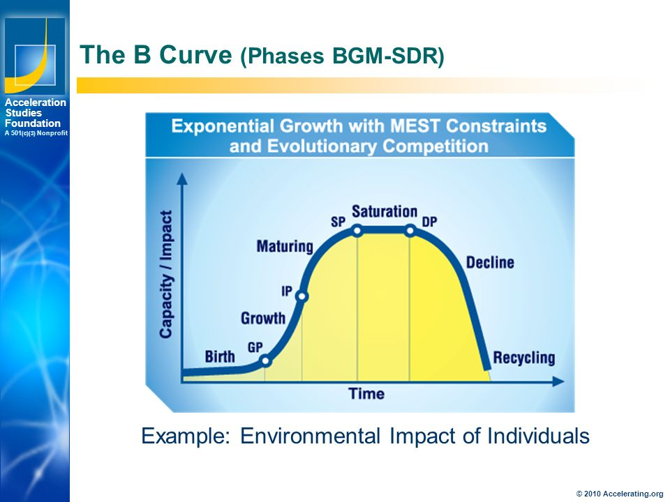 Los Angeles New York Palo Alto Acceleration Studies Foundation A 501 (c)(3) Nonprofit The B Curve (Phases BGM-SDR) Example: Environmental Impact of Individuals © 2010 Accelerating.org