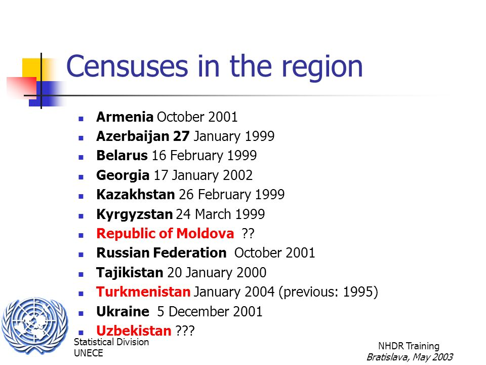 Statistical Division UNECE NHDR Training Bratislava, May 2003 Censuses in the region Armenia October 2001 Azerbaijan 27 January 1999 Belarus 16 February 1999 Georgia 17 January 2002 Kazakhstan 26 February 1999 Kyrgyzstan 24 March 1999 Republic of Moldova .