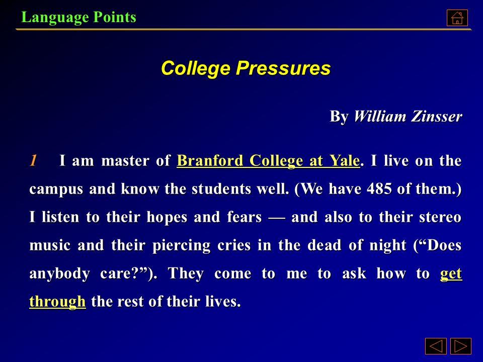 college pressures by william zinsser summary