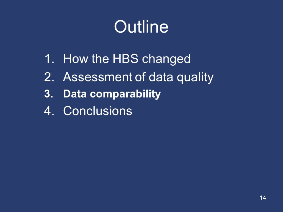 14 Outline 1.How the HBS changed 2.Assessment of data quality 3.Data comparability 4.Conclusions