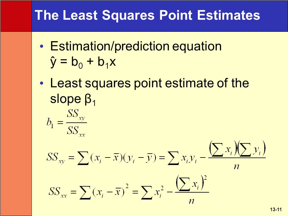 13-11 The Least Squares Point Estimates Estimation/prediction equation y ̂ = b 0 + b 1 x Least squares point estimate of the slope β 1