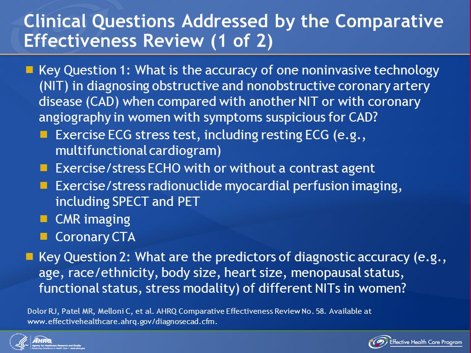  Key Question 1: What is the accuracy of one noninvasive technology (NIT) in diagnosing obstructive and nonobstructive coronary artery disease (CAD) when compared with another NIT or with coronary angiography in women with symptoms suspicious for CAD.