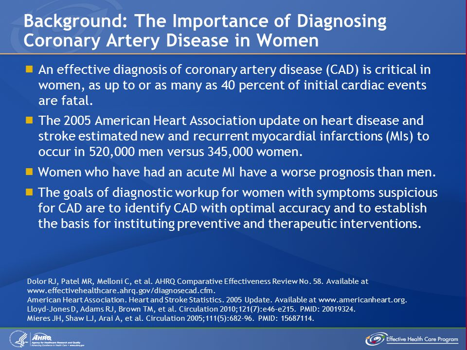  An effective diagnosis of coronary artery disease (CAD) is critical in women, as up to or as many as 40 percent of initial cardiac events are fatal.