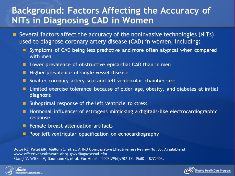  Several factors affect the accuracy of the noninvasive technologies (NITs) used to diagnose coronary artery disease (CAD) in women, including:  Symptoms of CAD being less predictive and more often atypical when compared with men  Lower prevalence of obstructive epicardial CAD than in men  Higher prevalence of single-vessel disease  Smaller coronary artery size and left ventricular chamber size  Limited exercise tolerance because of older age, obesity, and diabetes at initial diagnosis  Suboptimal response of the left ventricle to stress  Hormonal influences of estrogens mimicking a digitalis-like electrocardiographic response  Female breast attenuation artifacts  Poor left ventricular opacification on echocardiography Background: Factors Affecting the Accuracy of NITs in Diagnosing CAD in Women Dolor RJ, Patel MR, Melloni C, et al.