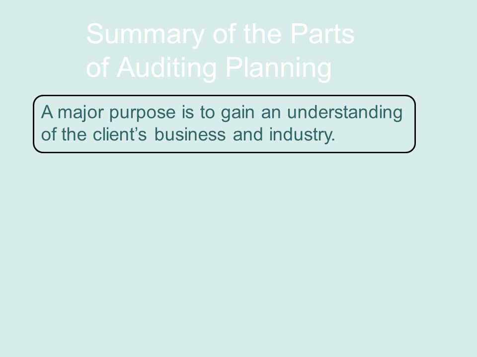 Summary of the Parts of Auditing Planning A major purpose is to gain an understanding of the client's business and industry.