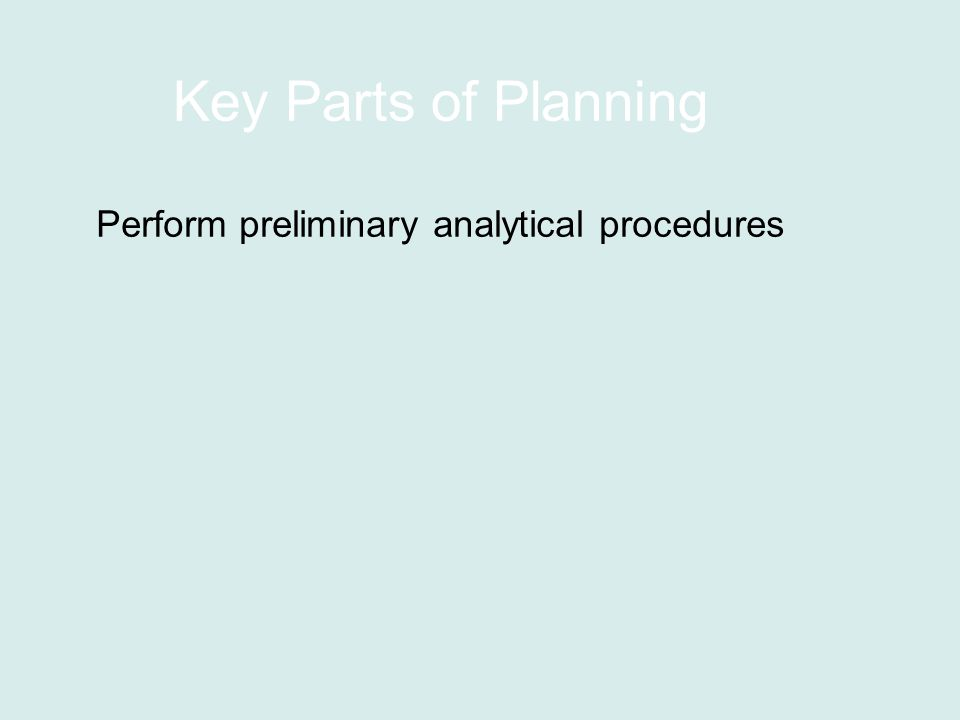 Key Parts of Planning Perform preliminary analytical procedures
