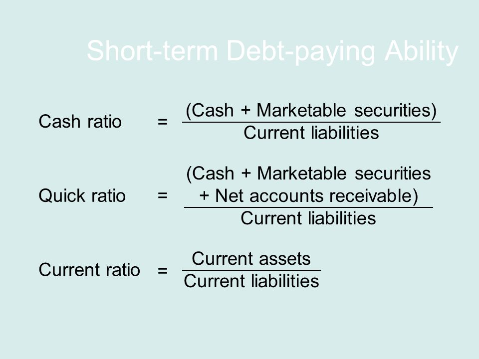 Short-term Debt-paying Ability Current ratio Current assets Current liabilities = Cash ratio (Cash + Marketable securities) Current liabilities = Quick ratio (Cash + Marketable securities + Net accounts receivable) Current liabilities =