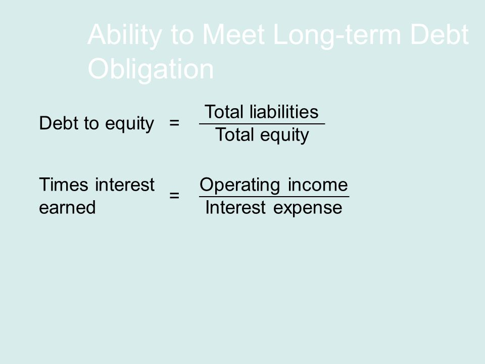 Ability to Meet Long-term Debt Obligation Debt to equity Total liabilities Total equity = Times interest earned Operating income Interest expense =